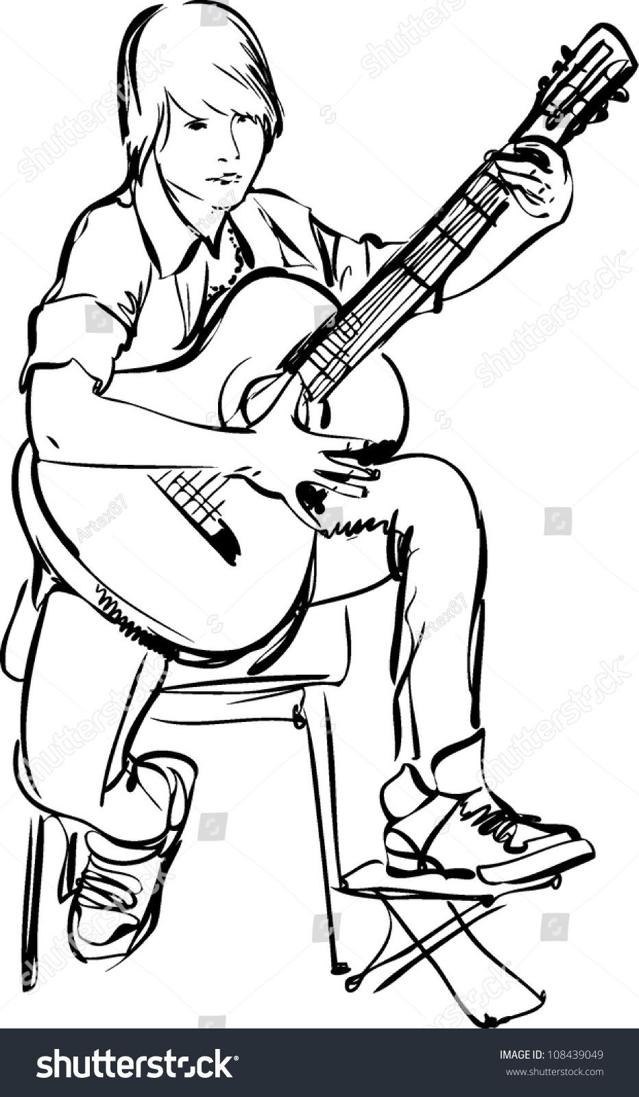 Sketch Boy Playing On Guitar On Stock Vector 108439049 - Shutterstock