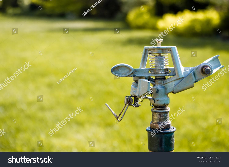 Sprinkler On Grass Garden Copy Space Stock Photo Edit Now
