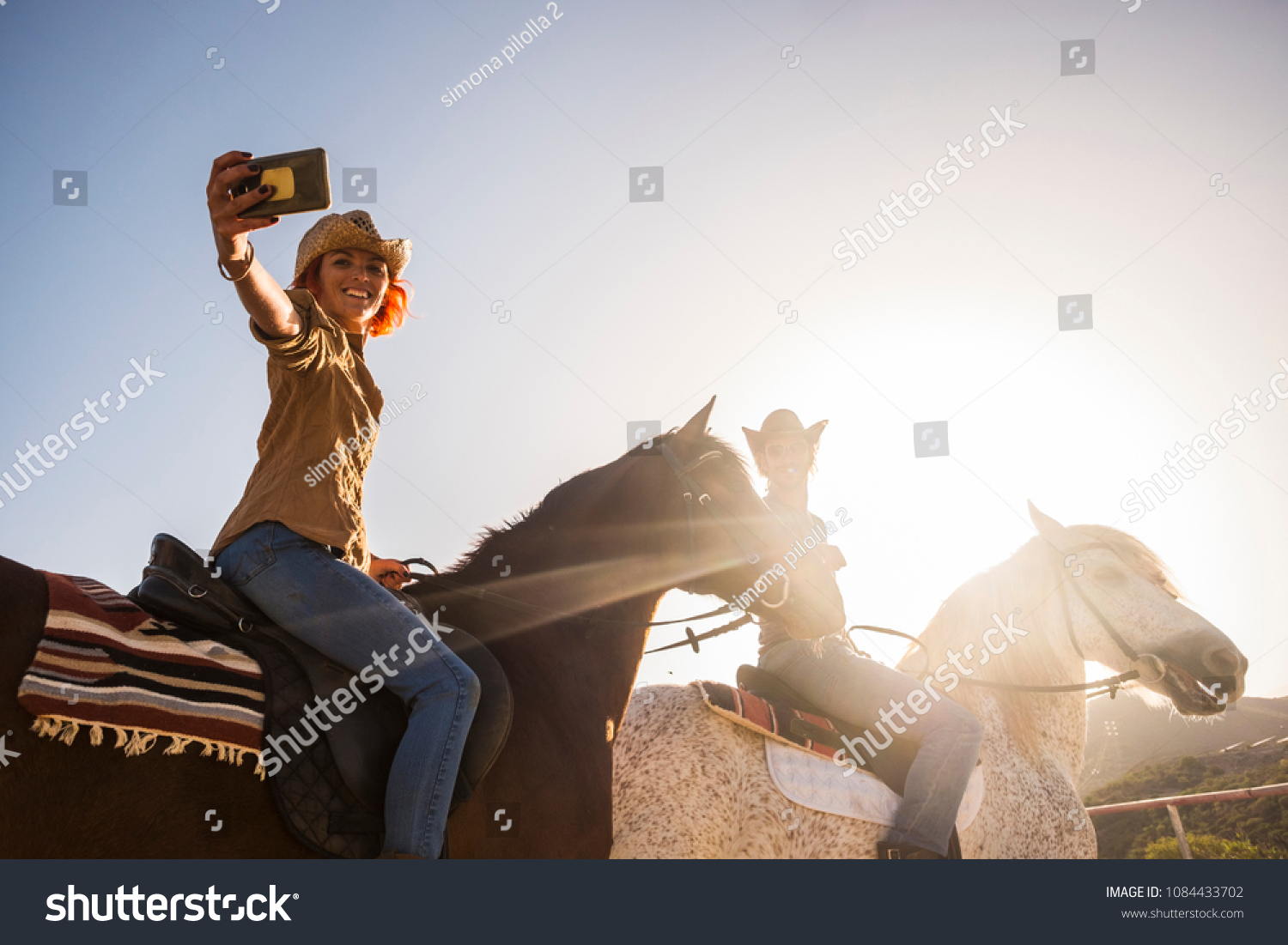 Couple On Horses Riding Outdoor Under Stock Photo Edit Now 1084433702