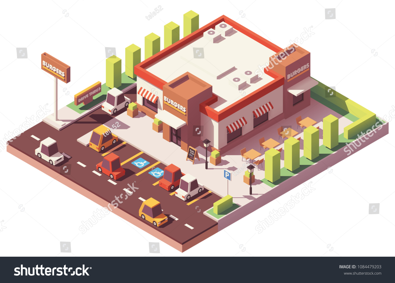 Vectores Imagenes Y Arte Vectorial De Stock Sobre Drive Thru Hamburger Restaurant Shutterstock