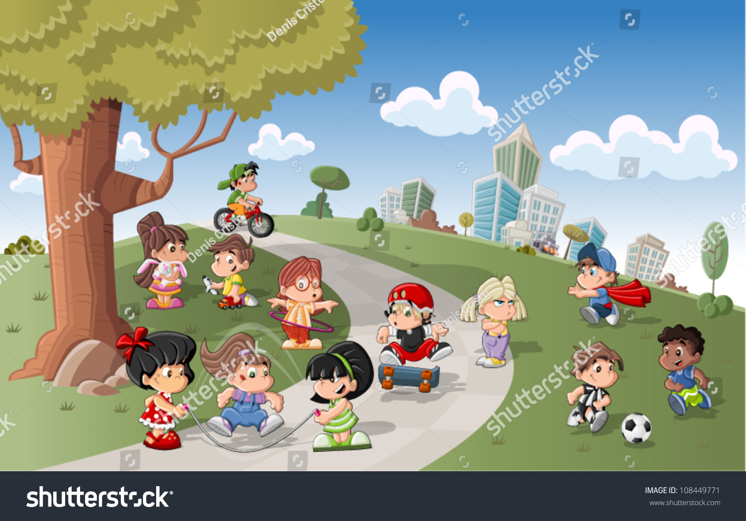 cute happy cartoon kids playing in green park 108449771 - Cartoon Picture For Kids