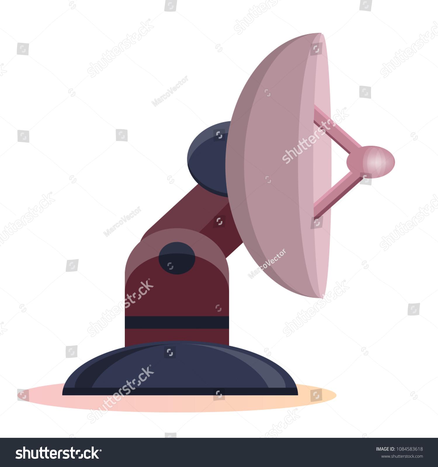 Parabola Satellite Antenna Reflector Antenna Radar Stock Vector