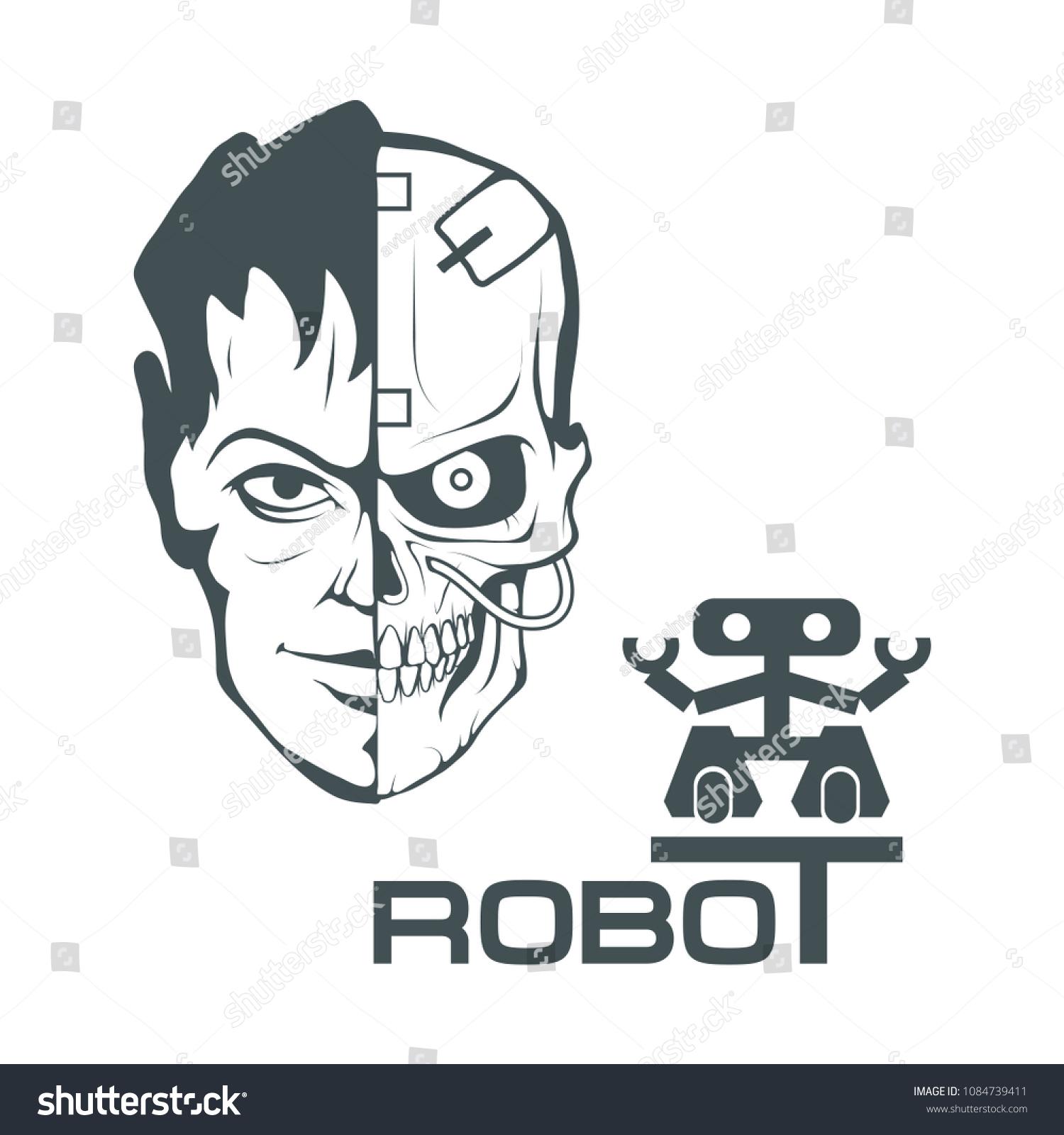 Robotic Face Robot Logo Design Robotics Stock Vector Royalty Free