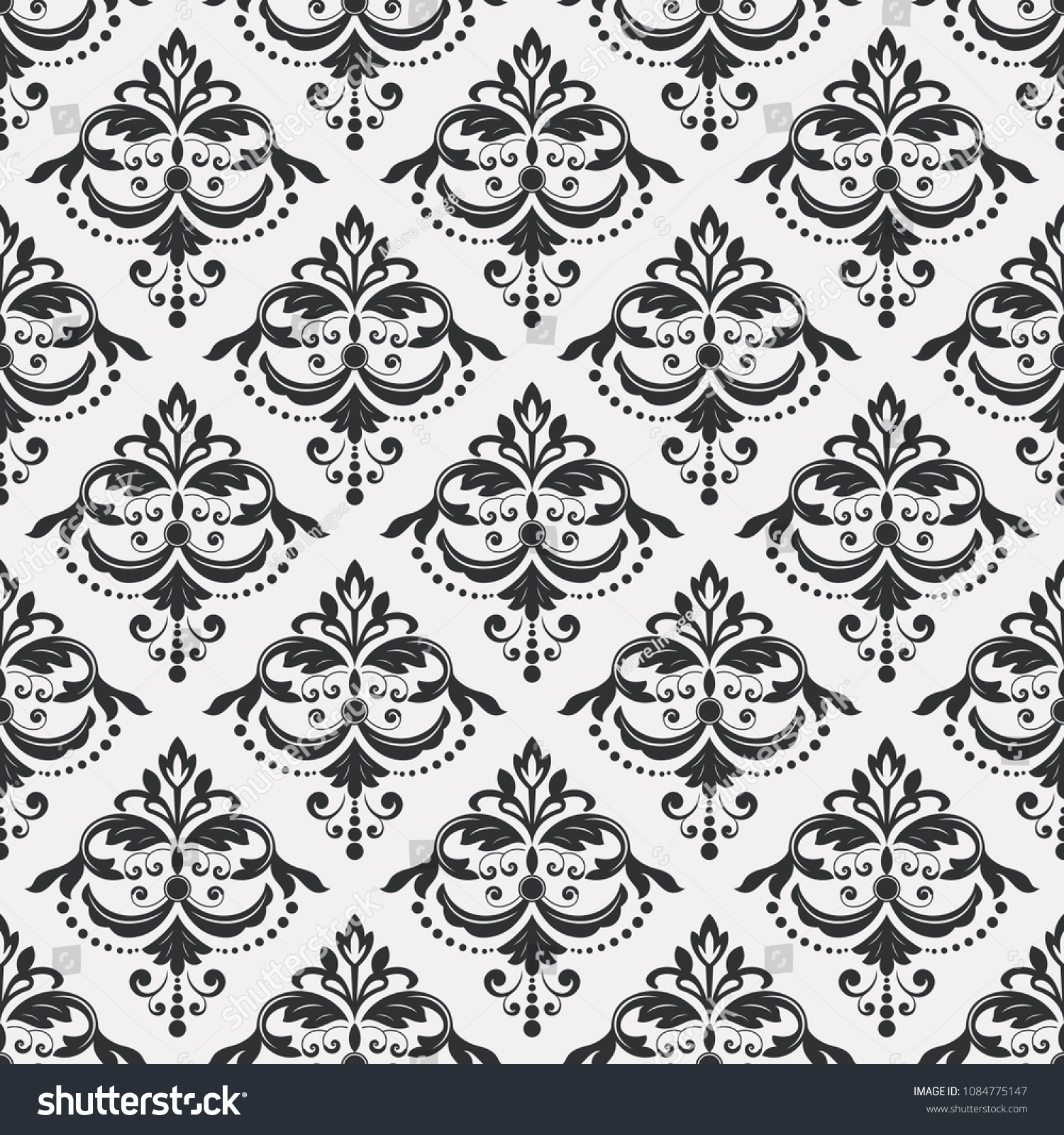 Seamless Black White Floral Wallpaper Vector Stock Vector Royalty