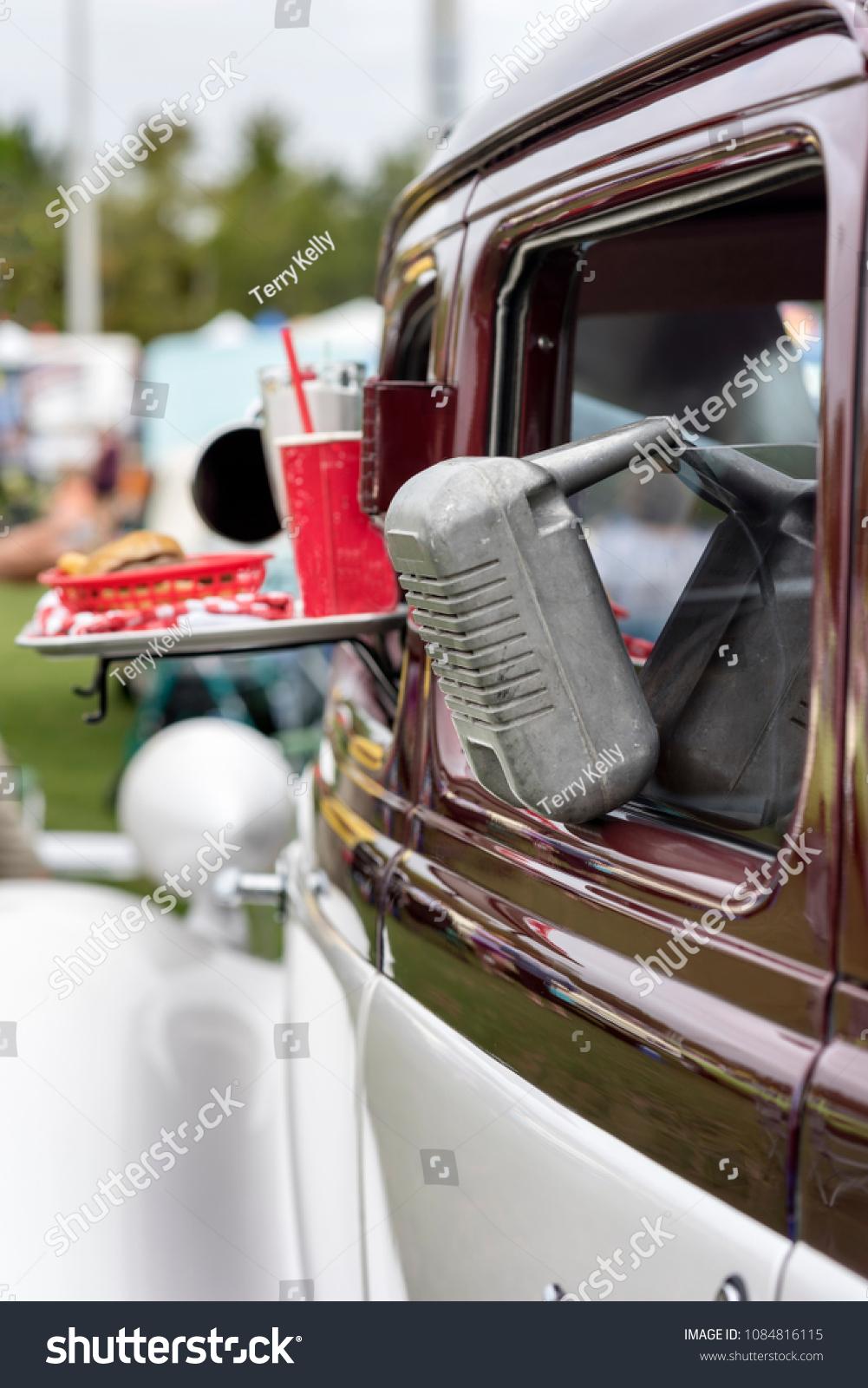 Drive Movie Theater Speaker Hanging Window Vintage Stock Image 1084816115