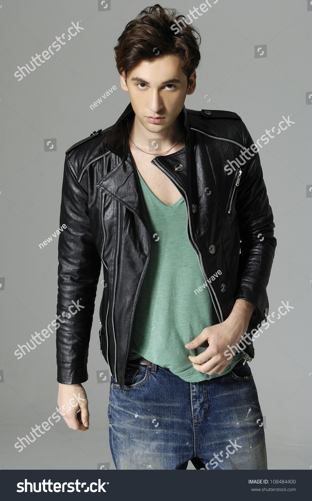 Handsome Young Man Tshirt Jeans Leather Stock Photo 108484400 ...
