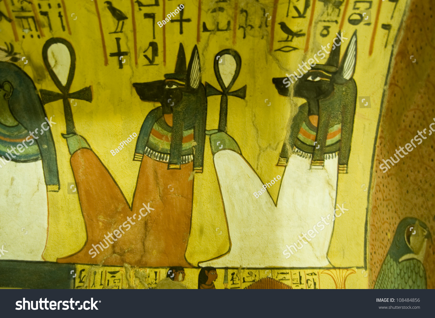 Ancient Egyptian Wall Painting Anubis Gods Stock Photo (Royalty Free ...