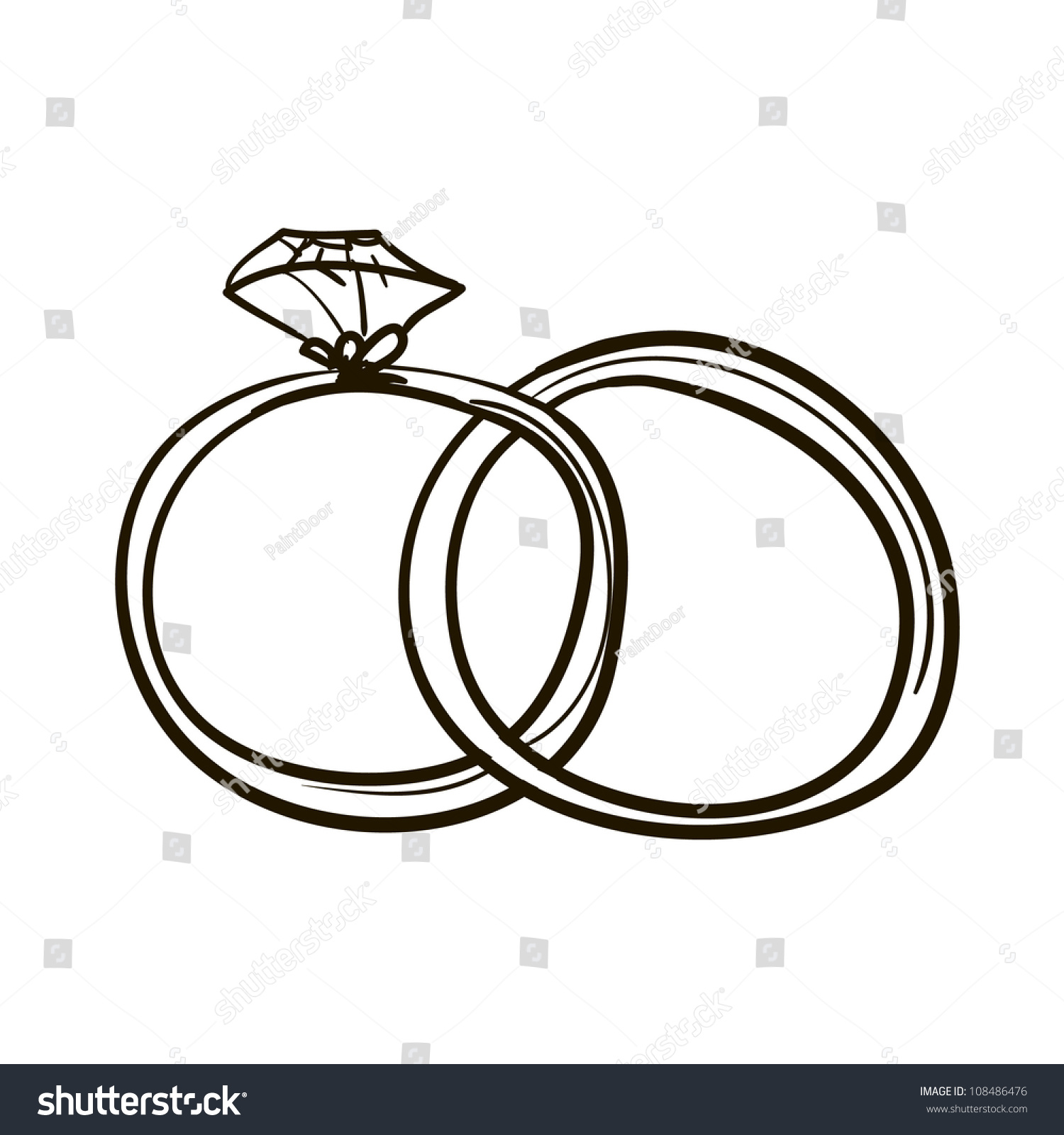Luxury Wedding Rings Black and White Clipart