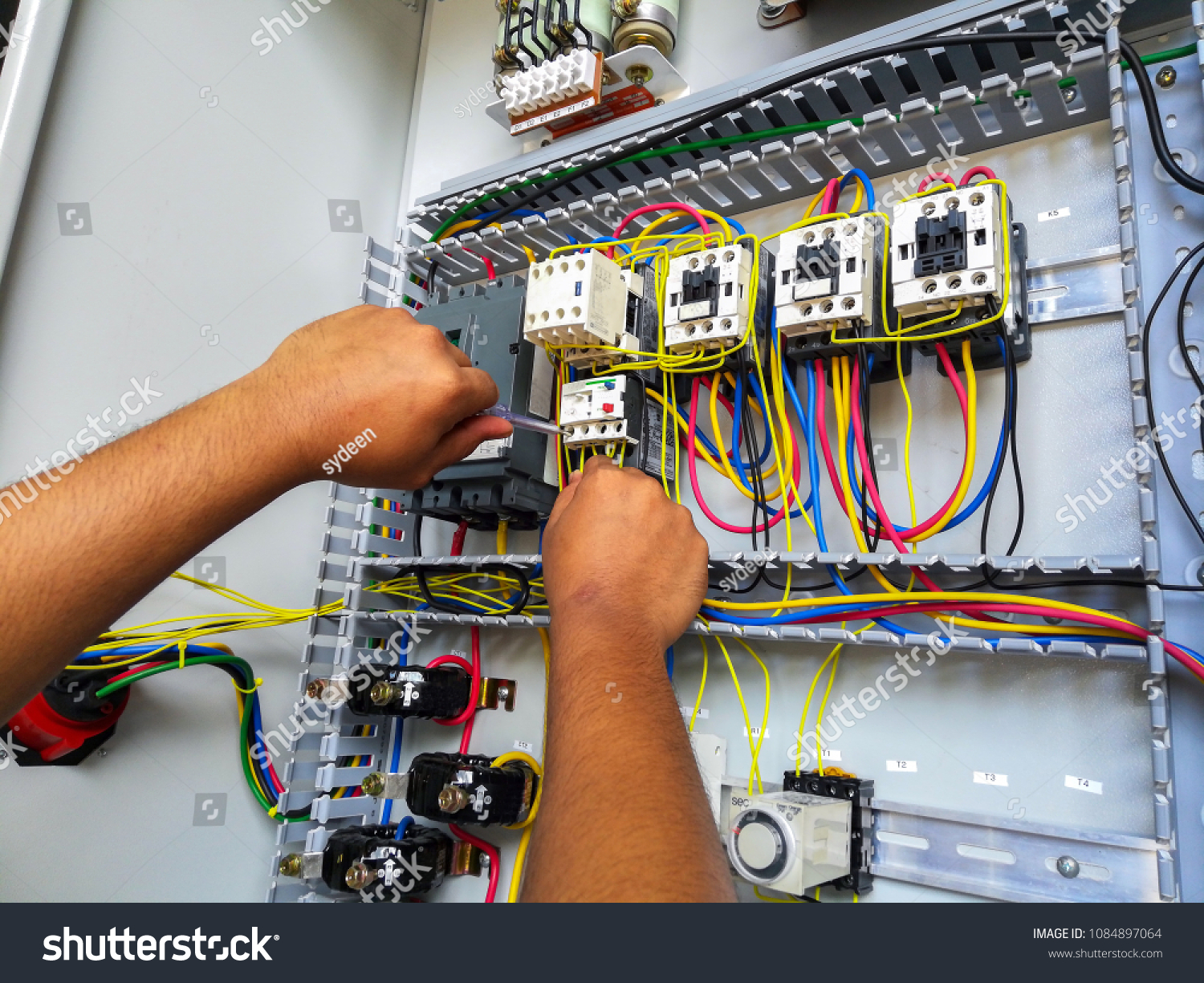 Electrical Motor Stater During Wiring Work Stock Photo (Edit ... on wiring contractors, clutch works, electronics works, floor works, painting works, fabrication works, pump works, motor works,