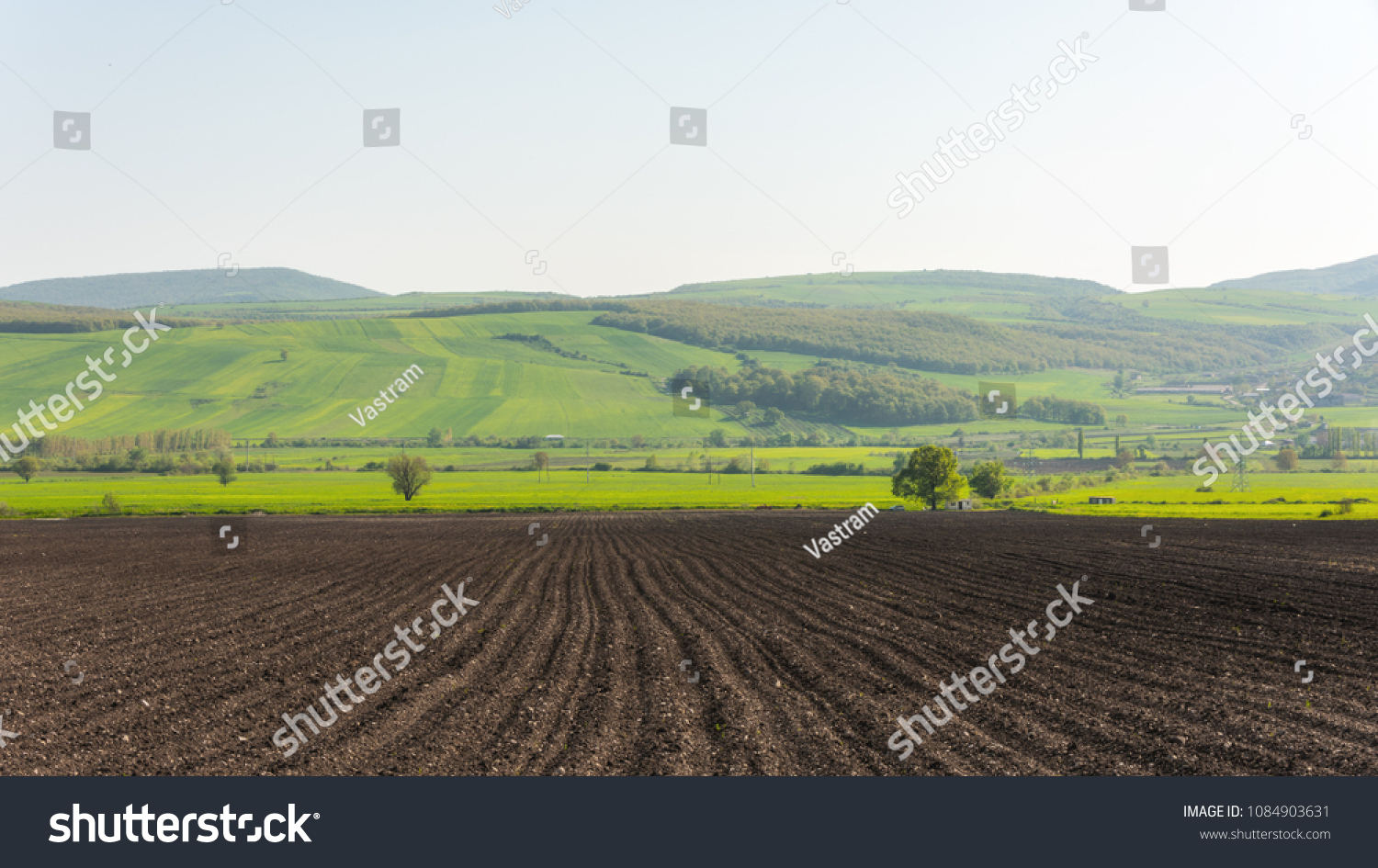 Plowed farmlands, arable fields