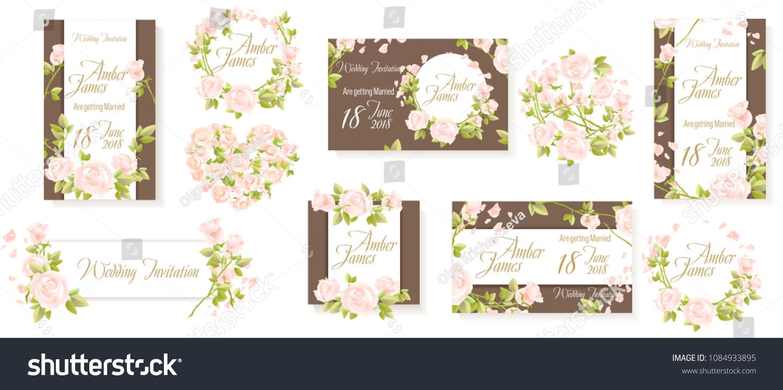 White Rose Flowers Invitation Set Vector Stock Vector 1084933895 ...