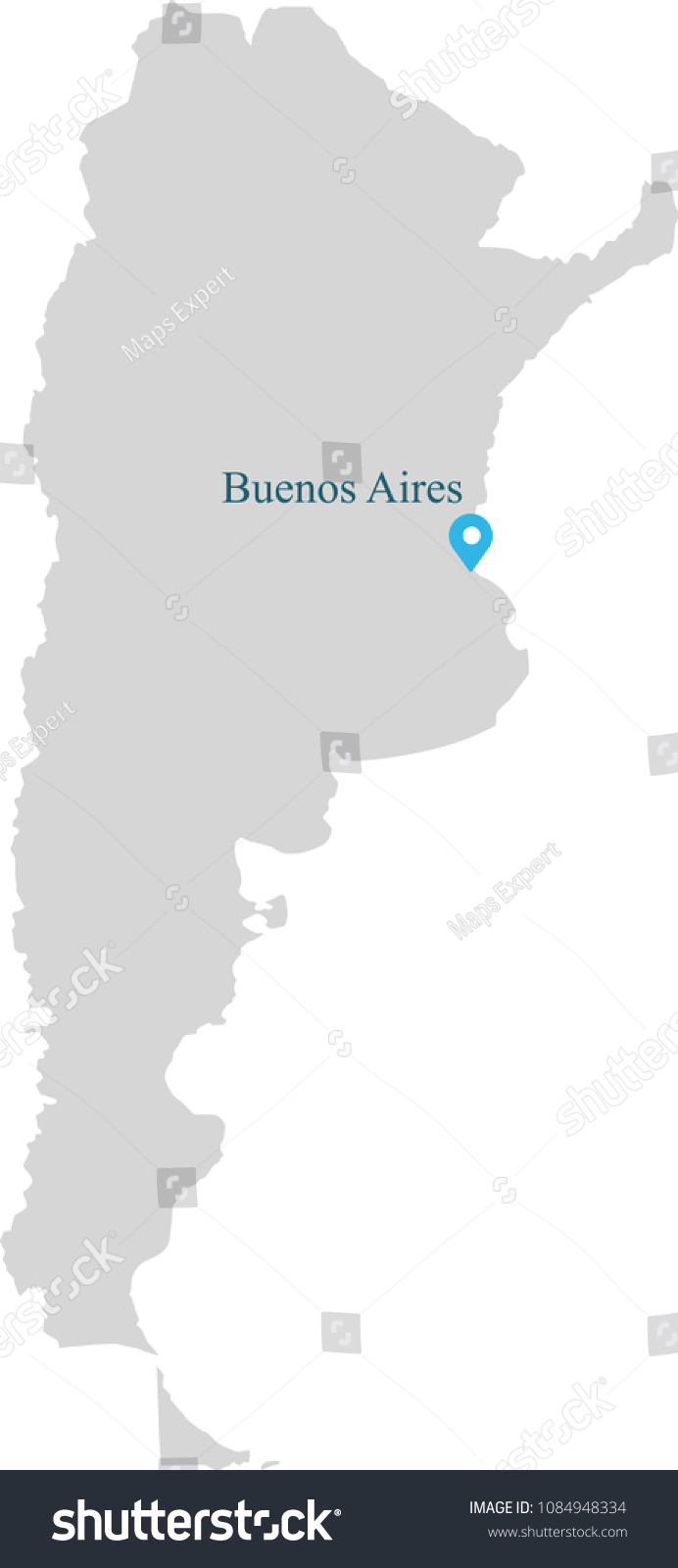 Buenos Aires Location On World Map.Argentina Map Vector Outline Illustration Capital Stock Vector