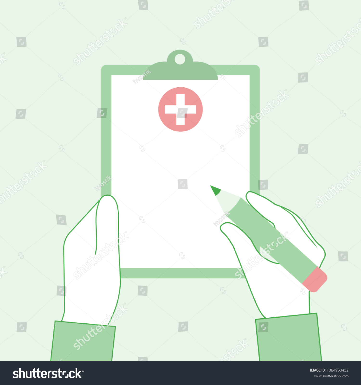 Clipboard In Hands Of Doctor Rx Prescription Form Writing Medical