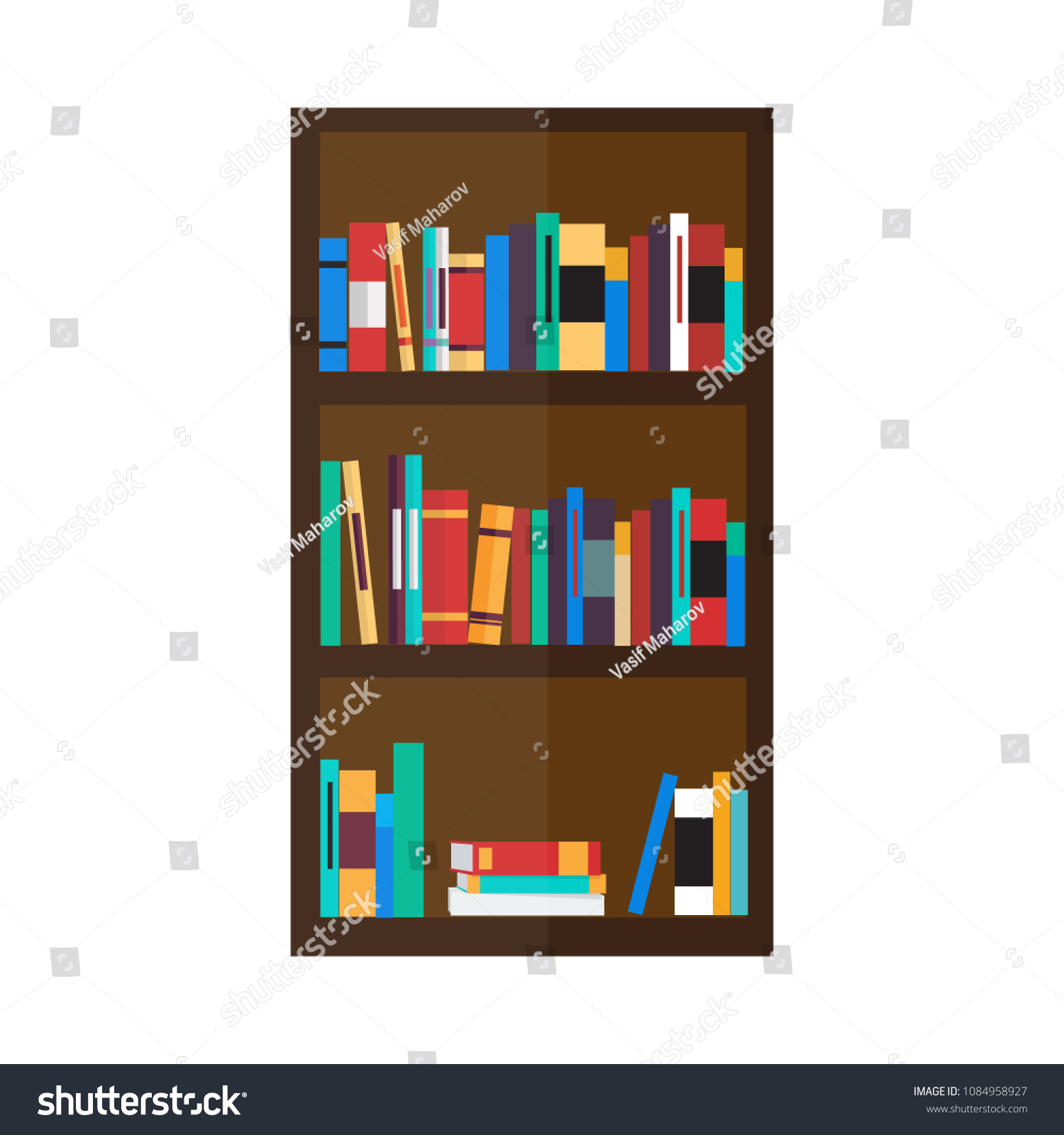 Bookshelf Icon In Flat Style Isolated Vector Illustration On White Transparent Background