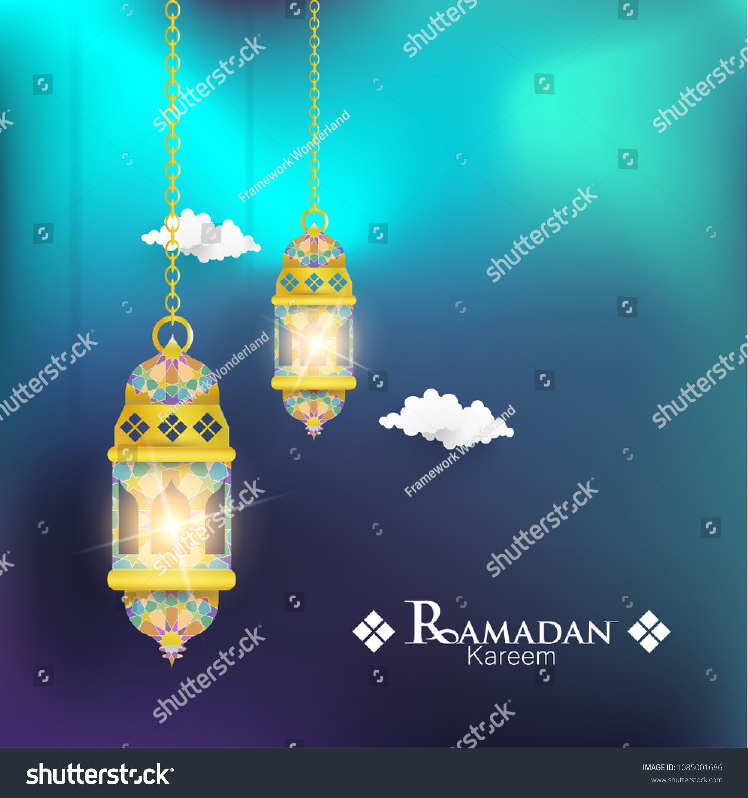 Ramadan Kareem Illustrations Lanterns Greeting Cards Stock Vector