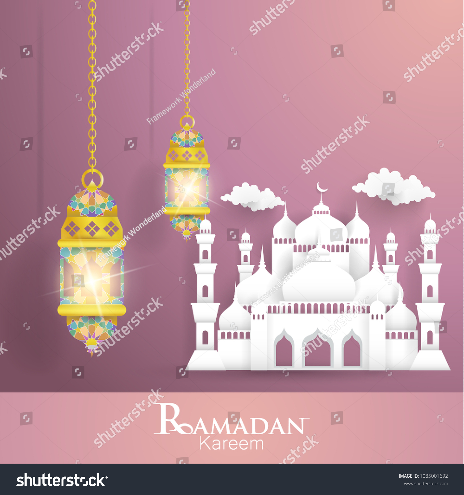 Ramadan Kareem Illustrations Lanterns Mosques Greeting Stock Vector