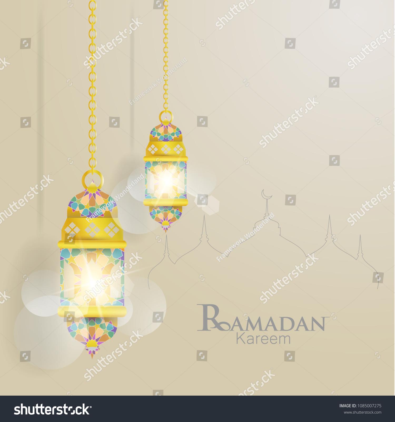 Ramadan Kareem Illustrations Lanterns Greeting Cards Stock Vector