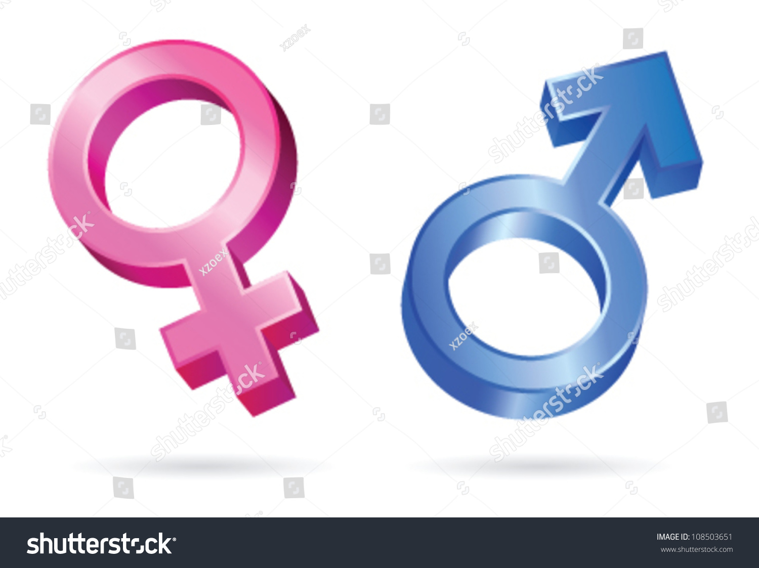 Isolated Illustrations Male Female Gender Symbols Stock Vector