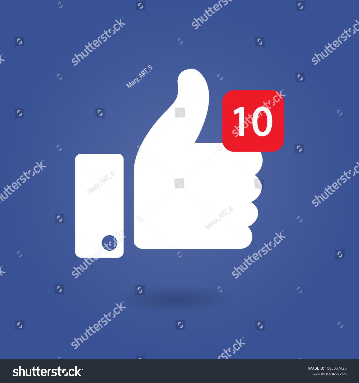 Thumbs 10 Like Social Network Facebook Stock Vector Royalty Free