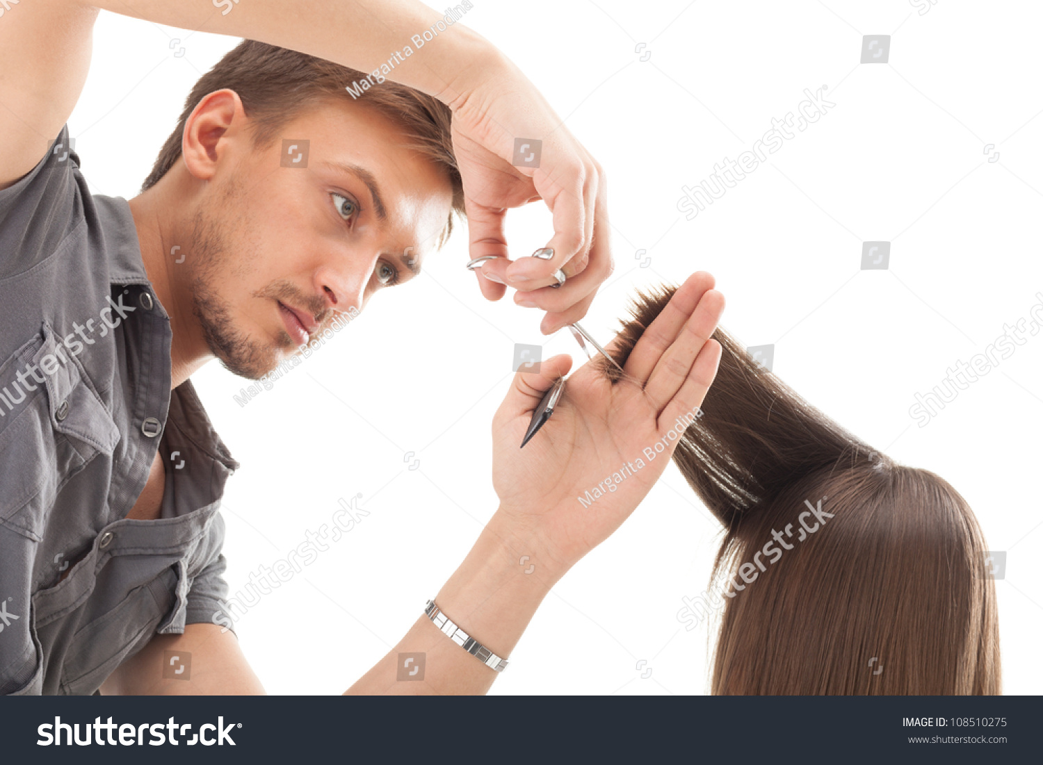 Professional Hairdresser : Professional Hairdresser With Long Hair Model Stock Photo 108510275 ...