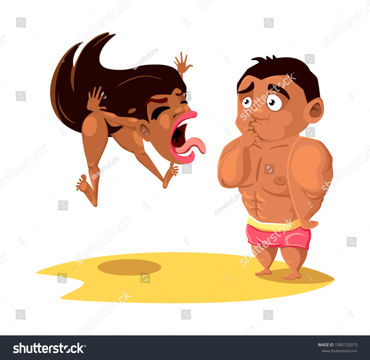 Couple Fighting Couples Fight On Vacation Stock Vector Royalty Free 1085125073