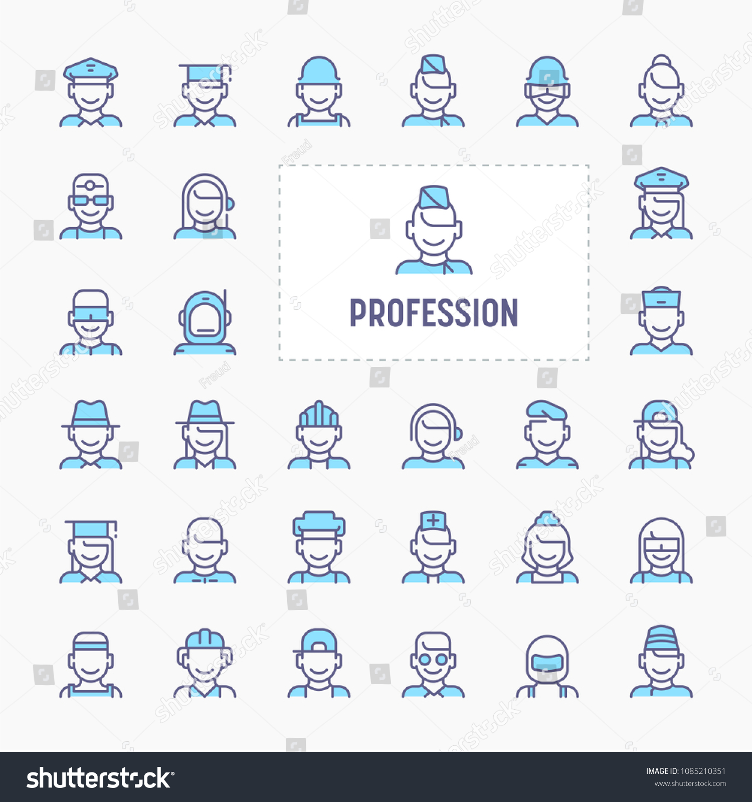 profession occupation employment thin line website stock vector