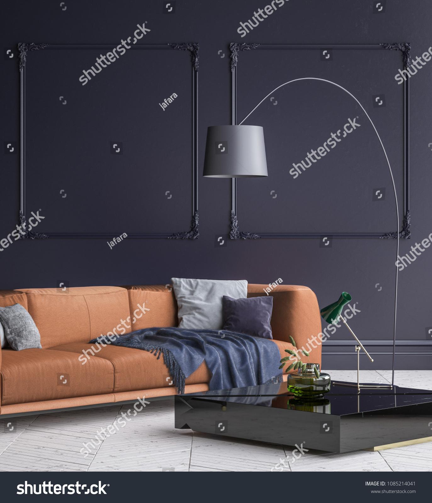 Luxury Modern Dark Blue Living Room Stock Illustration 1085214041