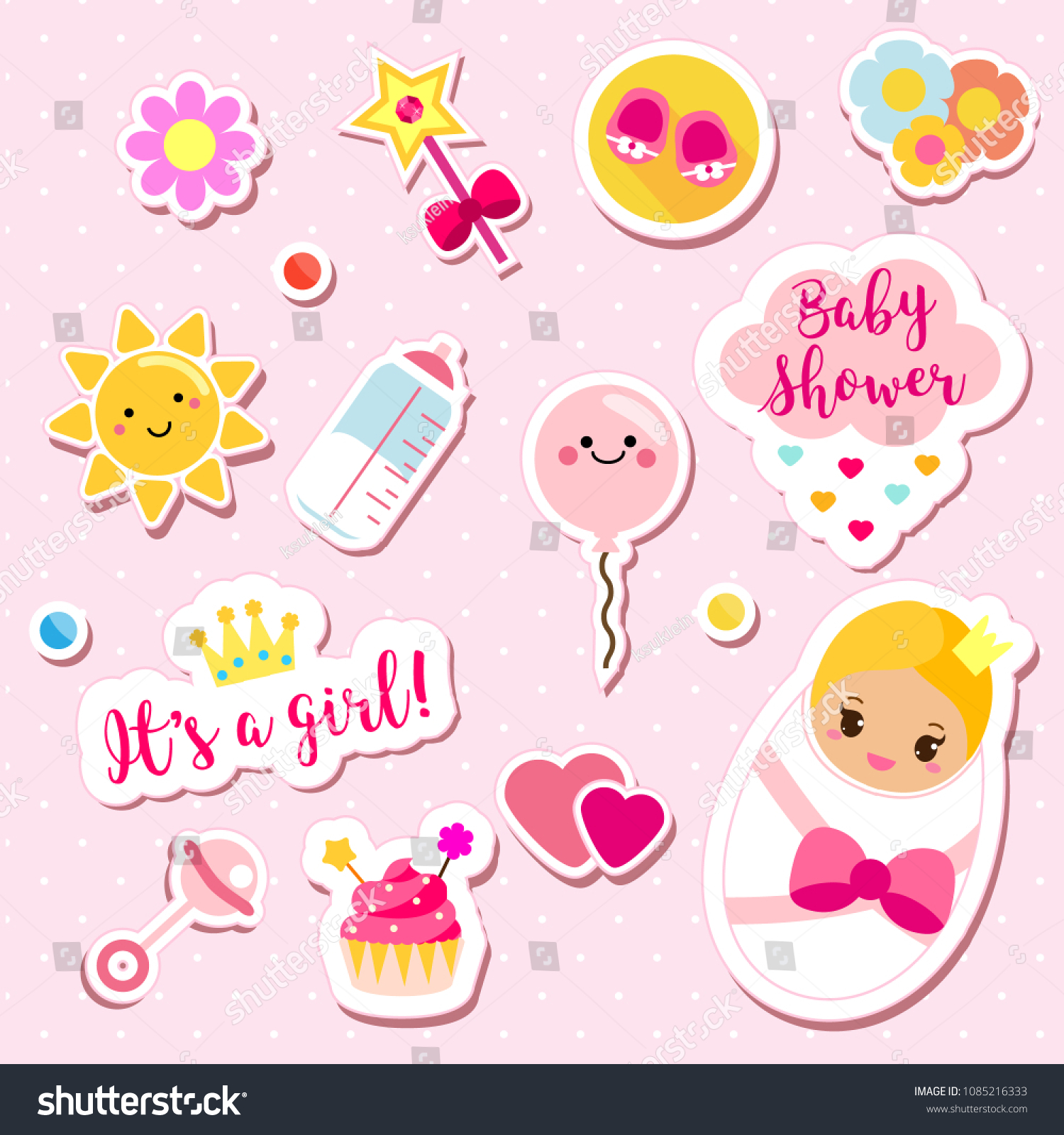 Girl Stickers Set Pink Colors Kids Stock Vector 1085216333