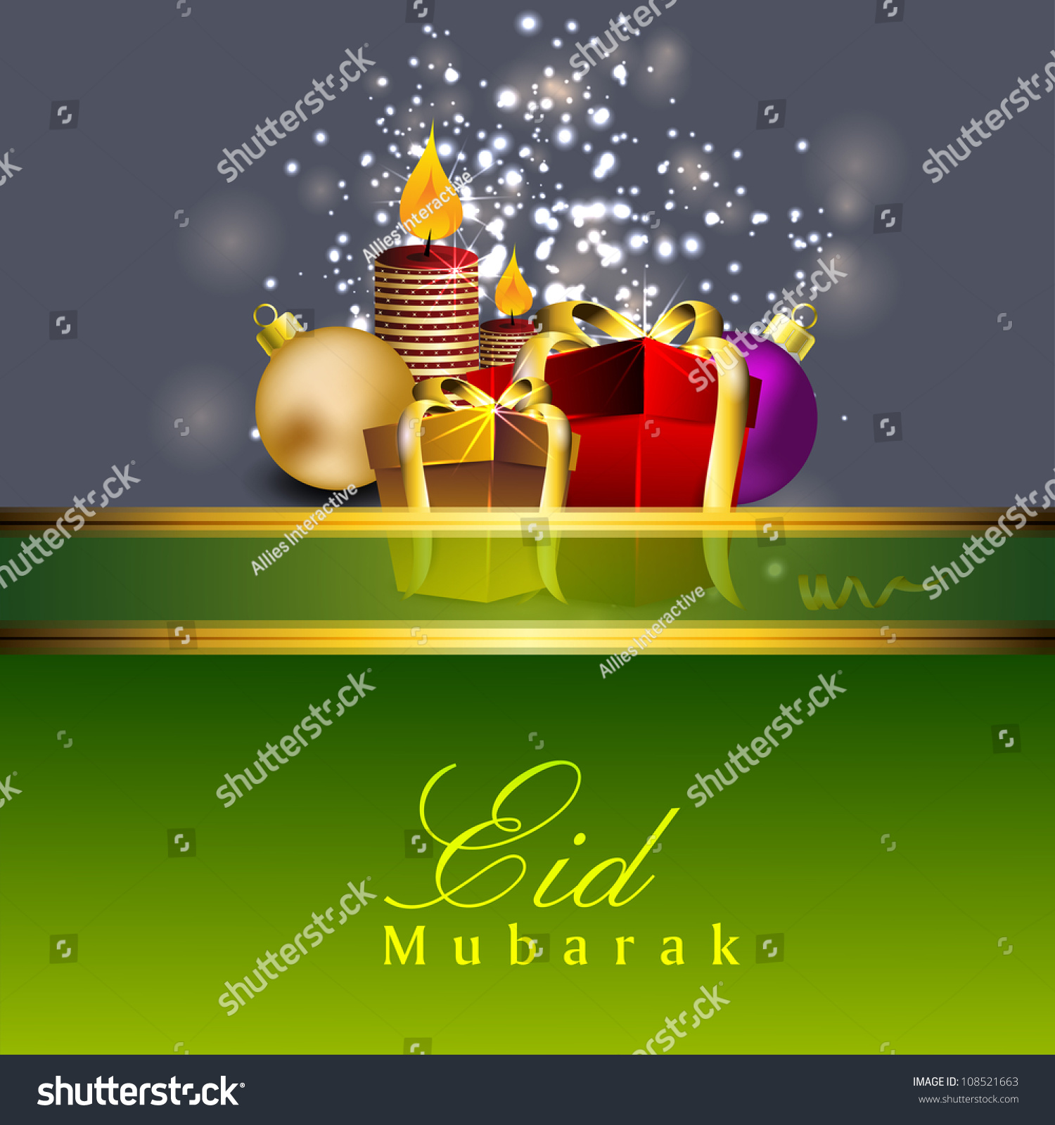 Beautiful eid mubarak greeting card gift stock vector 108521663 beautiful eid mubarak greeting card with gift boxes and candles m4hsunfo