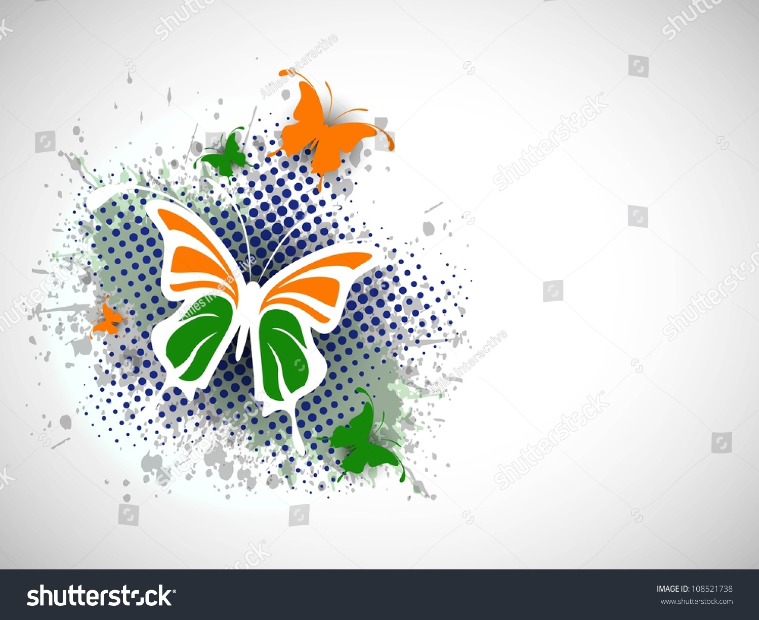 Indian Flag Butterflies: Indian Flag Butterfly On Creative Background. Eps 10