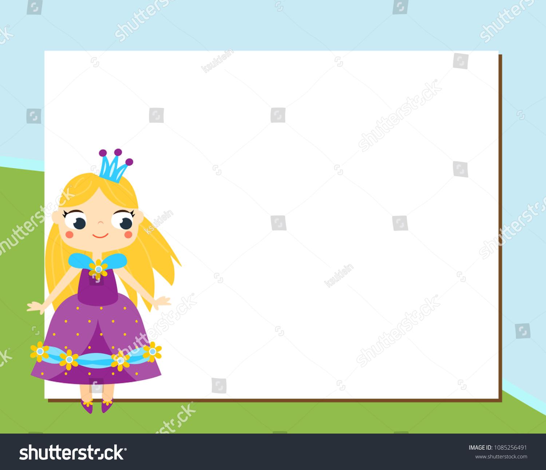 Princess Frame Design Template Photos Children Stock Vector