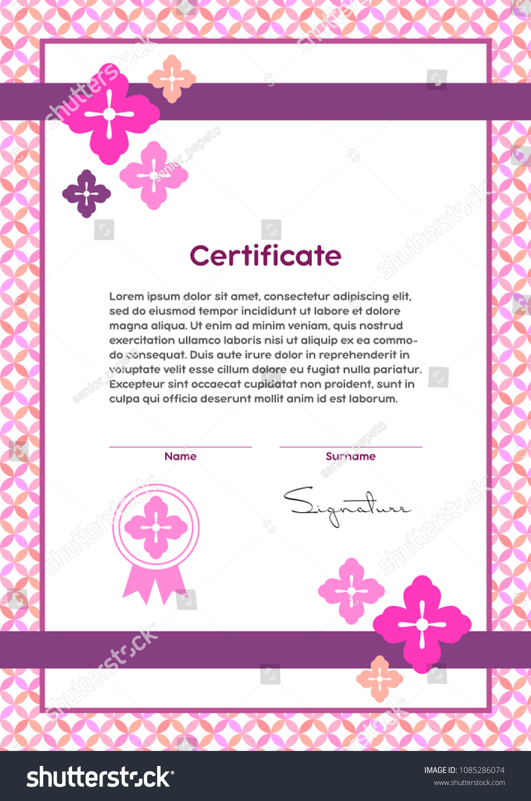 Vector certificate template japanese modern style stock vector 2018 vector certificate template japanese modern style beauty salon yoga spa makeup yelopaper Gallery