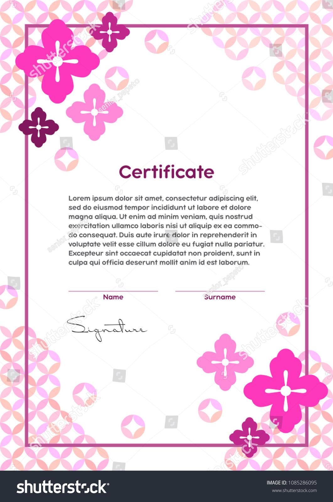 Vector Certificate Template Japanese Modern Style Stock Vector