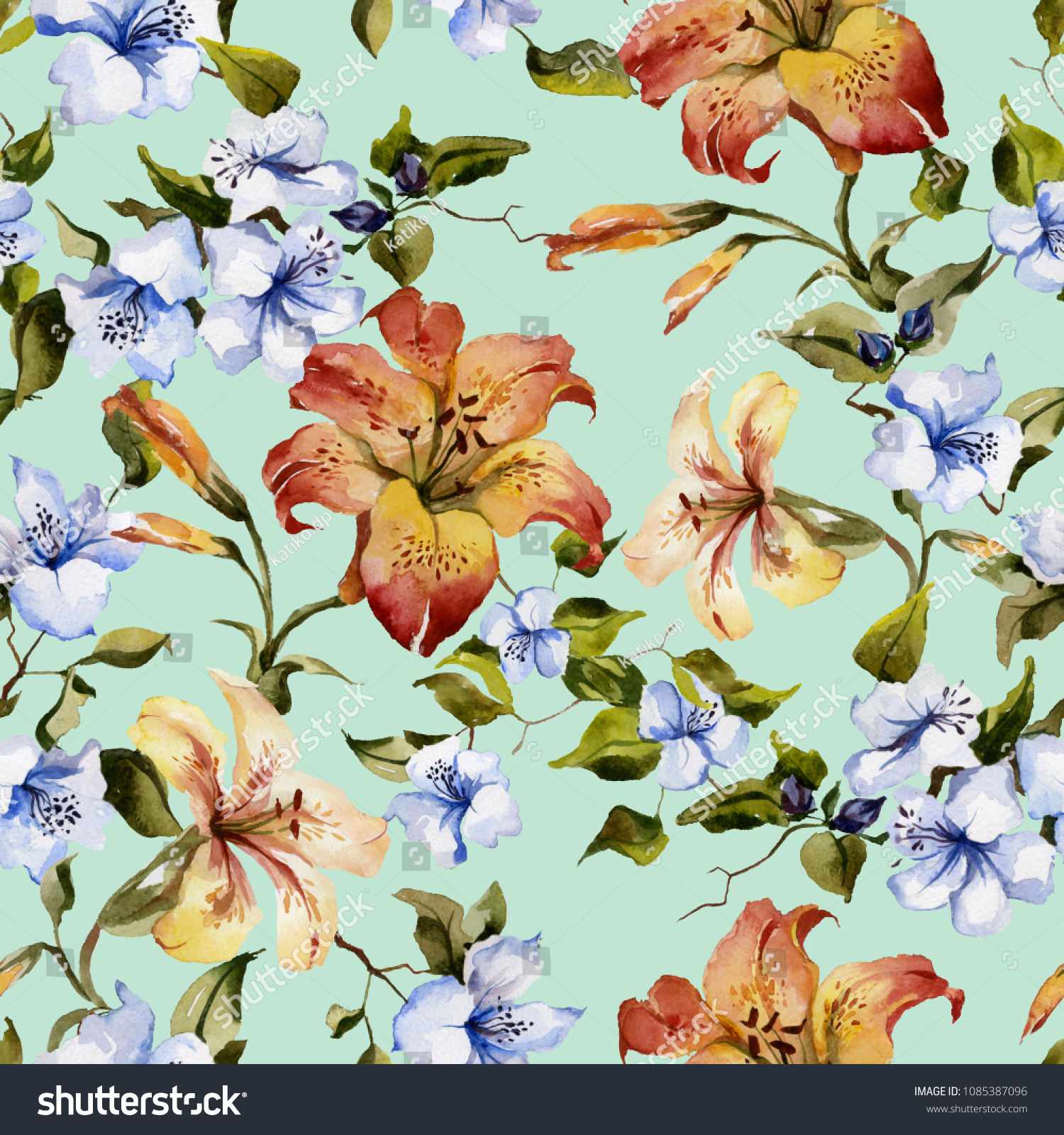 Beautiful tiger lilies small blue flowers stock illustration beautiful tiger lilies and small blue flowers on twigs against light blue background seamless floral izmirmasajfo