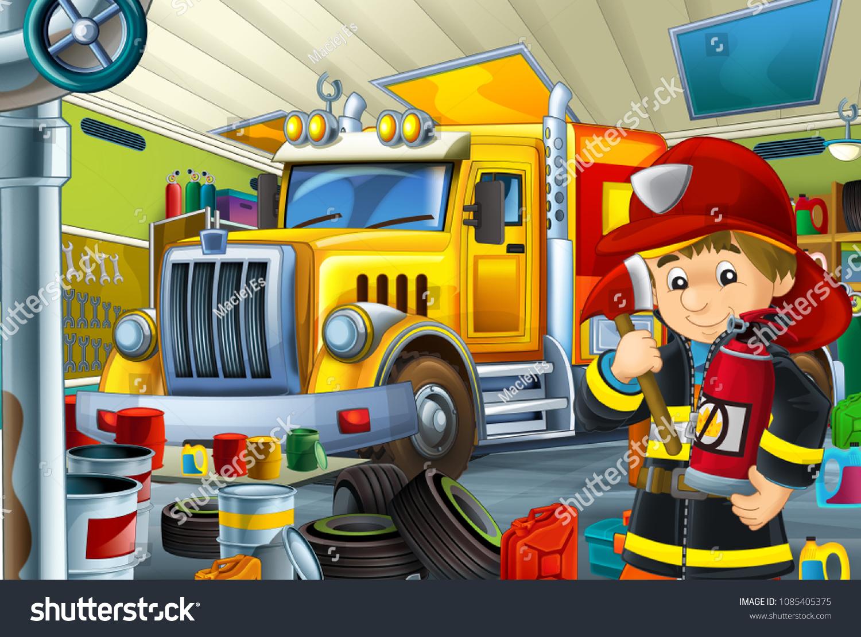 Cartoon Scene Fire Fighter Truck Repair Stock Illustration