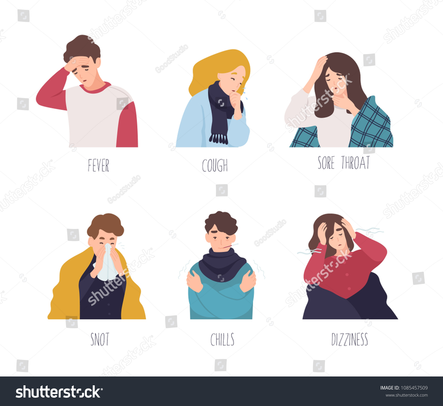 Male Female Cartoon Characters Demonstrating Symptoms Stock Vector Royalty Free 1085457509