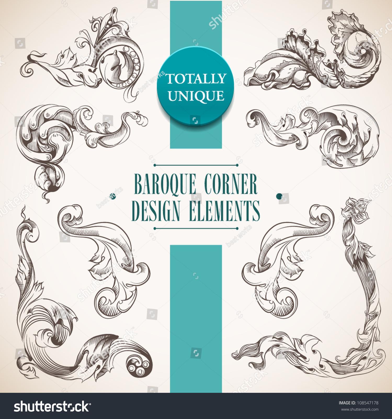 Baroque corner design elements page decoration stock for Baroque design elements