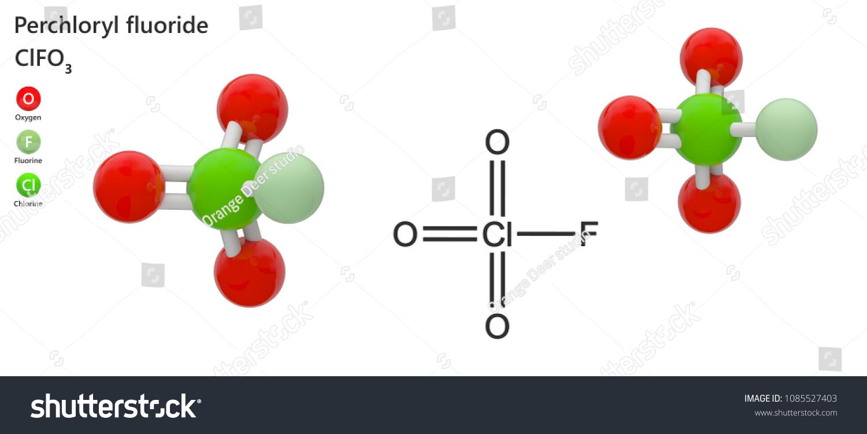 Perchloryl Fluoride Gas Chemical Formula Cl O 3 F Stock Illustration