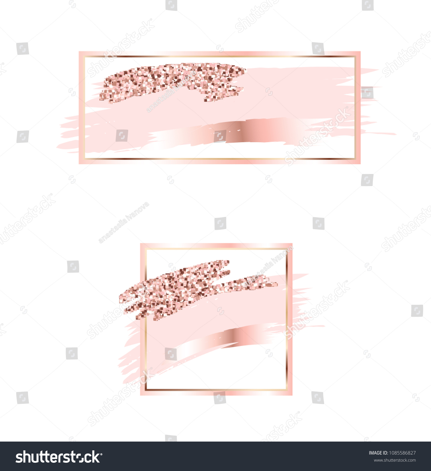 2f4e13a9138d Brush strokes in gentle pink tones.Gentle pastel color.Rose gold frame  circle and hexagonal frame .Abstract vector background.Pink sparkle glossy  scribble