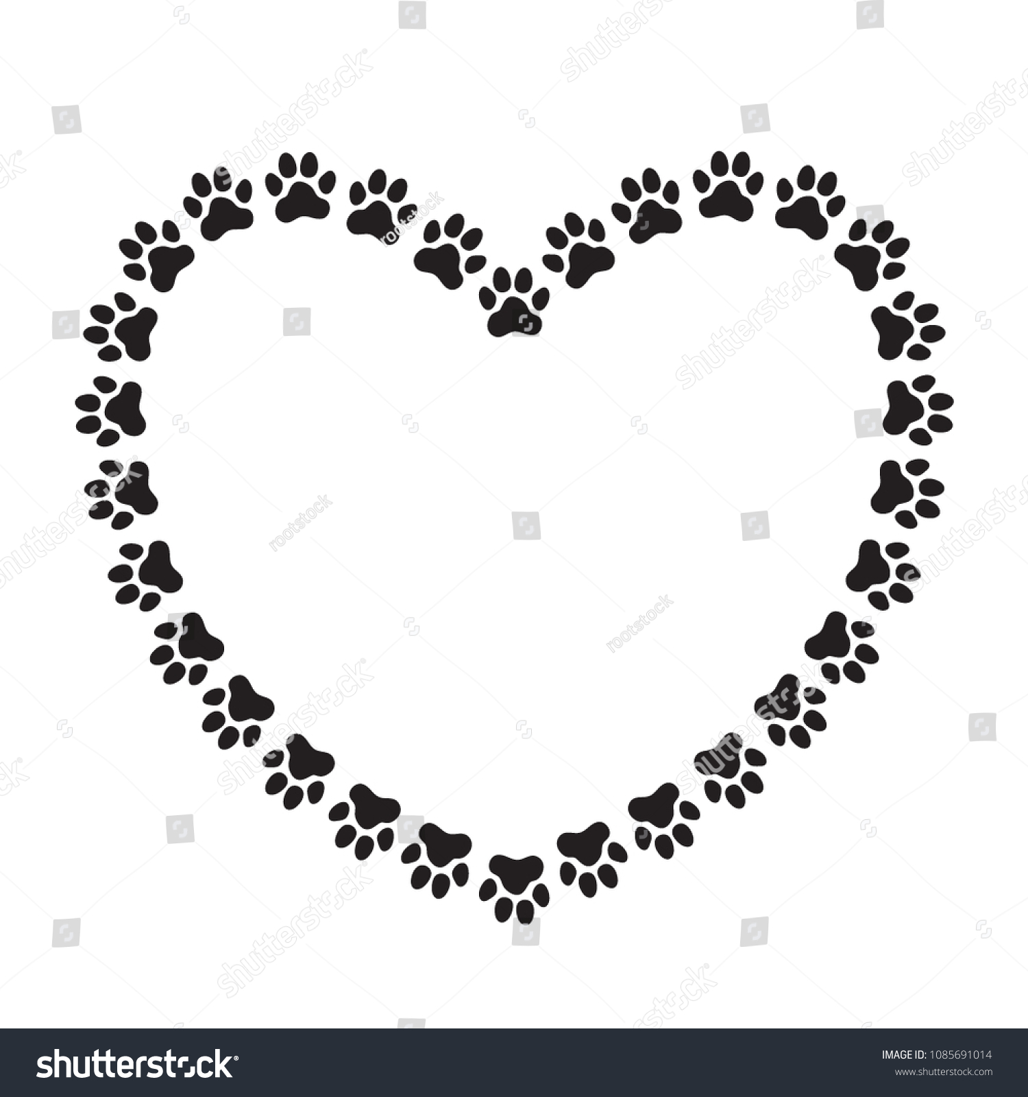 Heart Shaped Frame Made Animals Dogs Stock Vector (Royalty Free ...