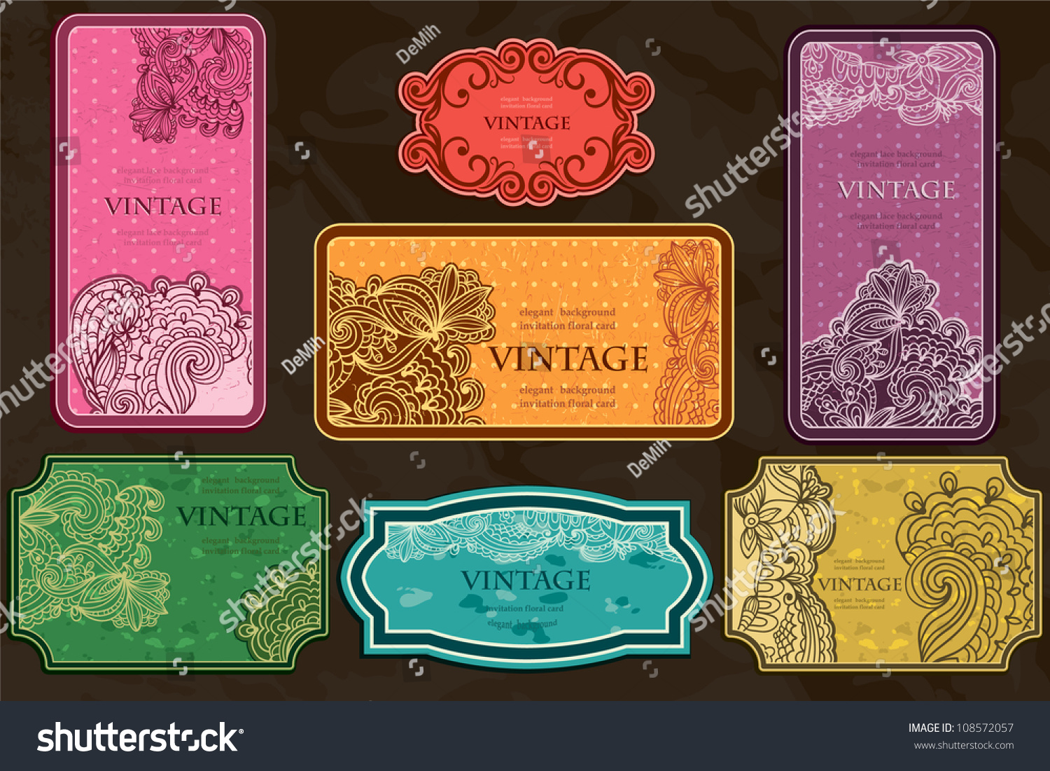 Big Set Vintage Business Cards Labels Stock Vector HD (Royalty Free ...