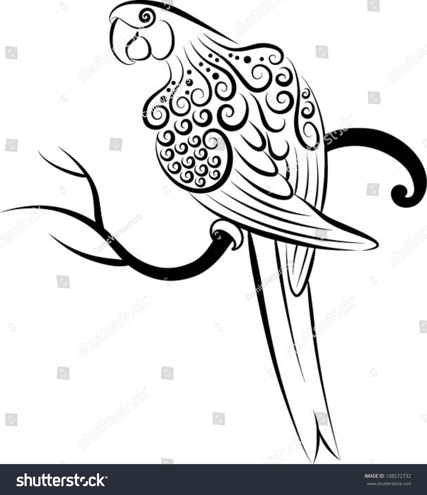 Bird vector 3 parrot parrot drawing with curl ornament for Decoration drawing
