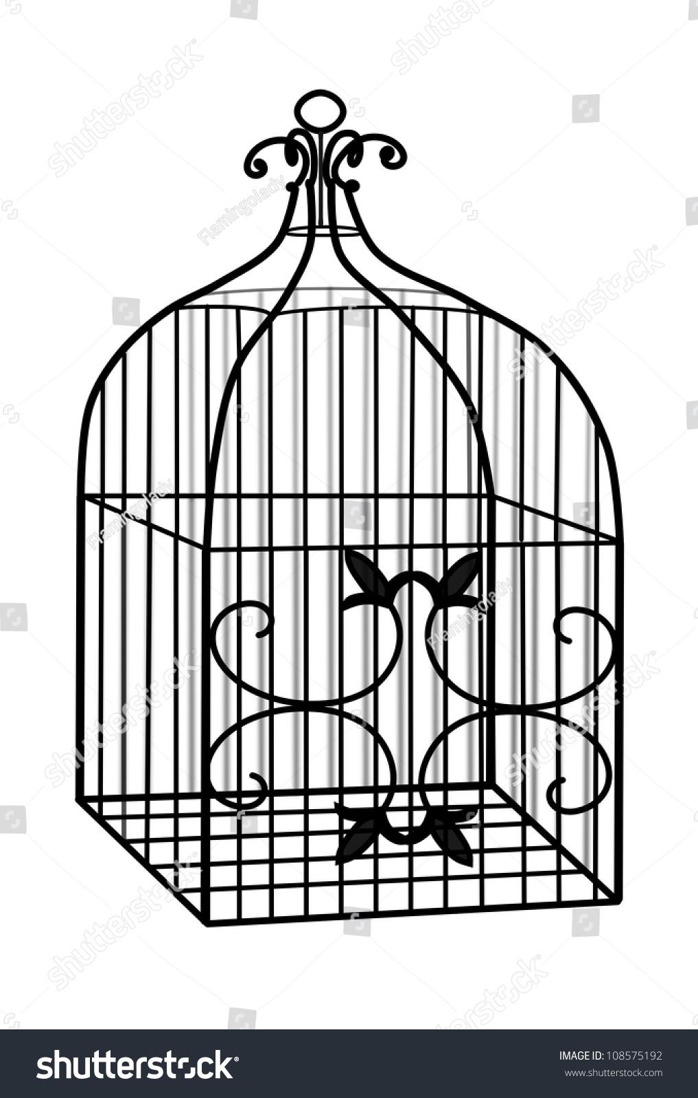 Illustration 3d Black Wire Bird Cage Stock Illustration 108575192 ...