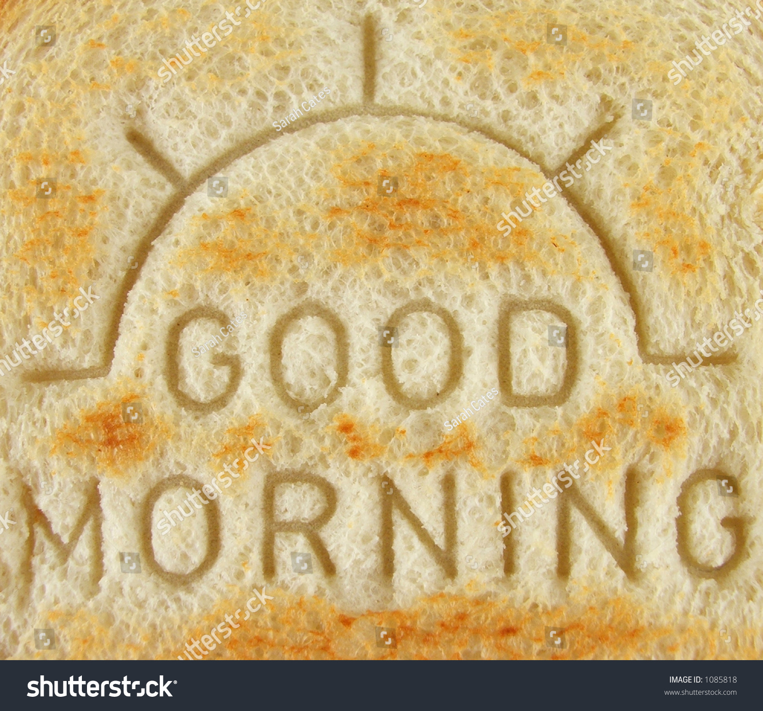 Good Morning Imprint On Toast Stock Photo 1085818
