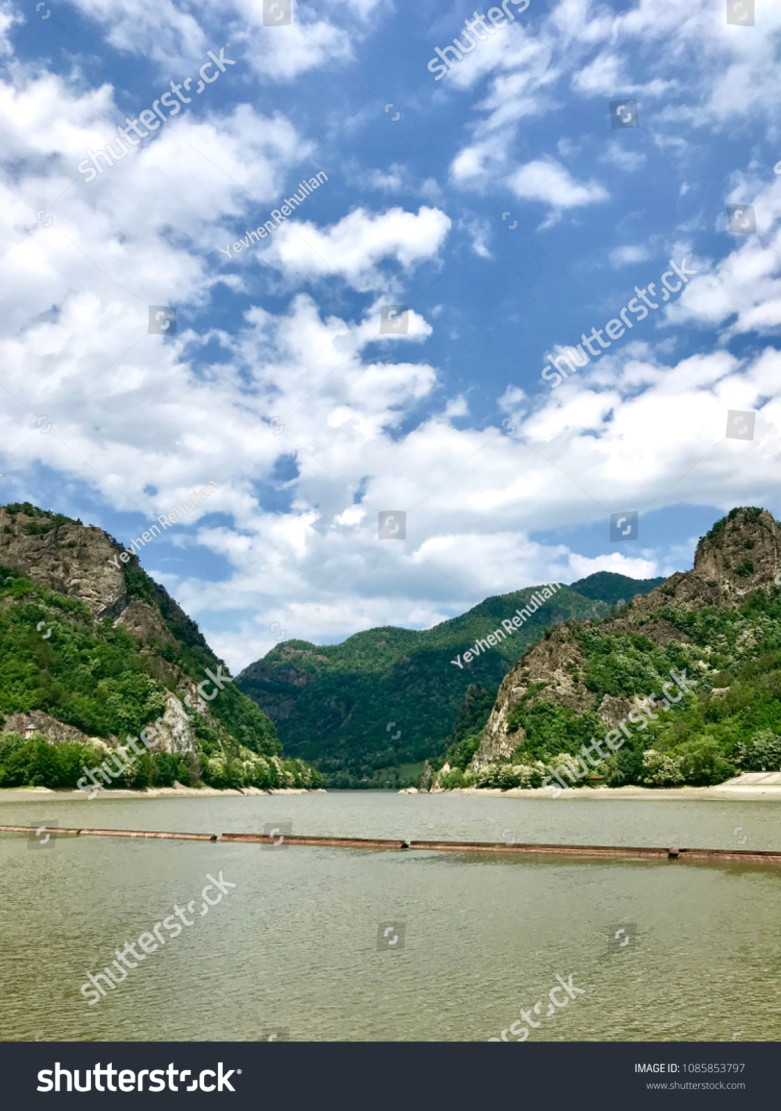 stock photo amazing summer landscapes romania road to the mountains lake green mountains sunny day desktop 1085853797