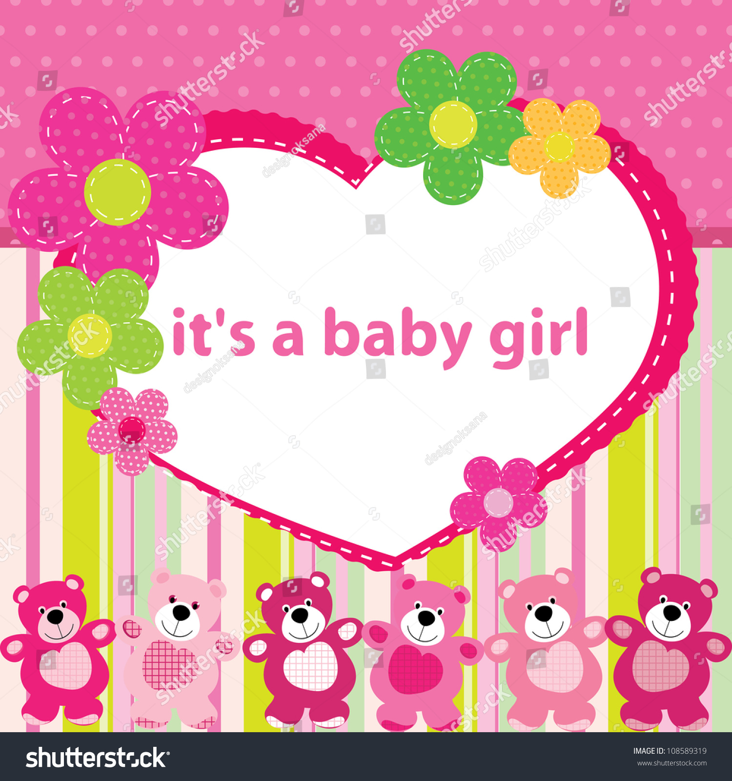 Greeting card birth baby girl stock vector 108589319 shutterstock greeting card with the birth of a baby girl kristyandbryce Images