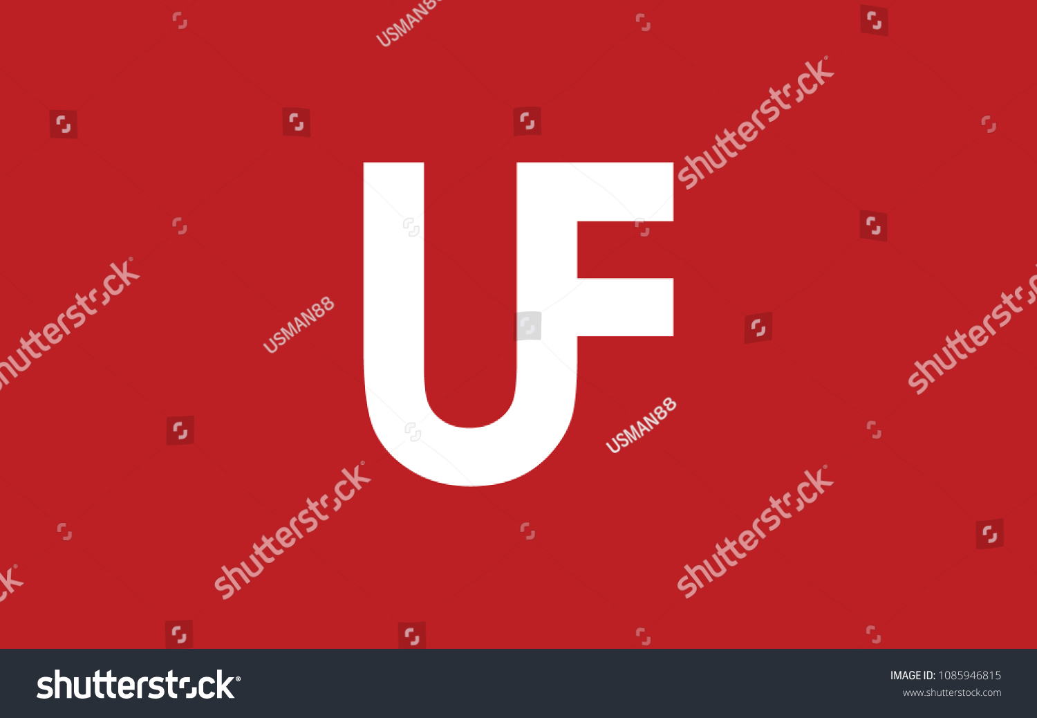 Uf Powerpoint Template Fu Letter Initial Logo Design Stock Vector Hd Royalty Free