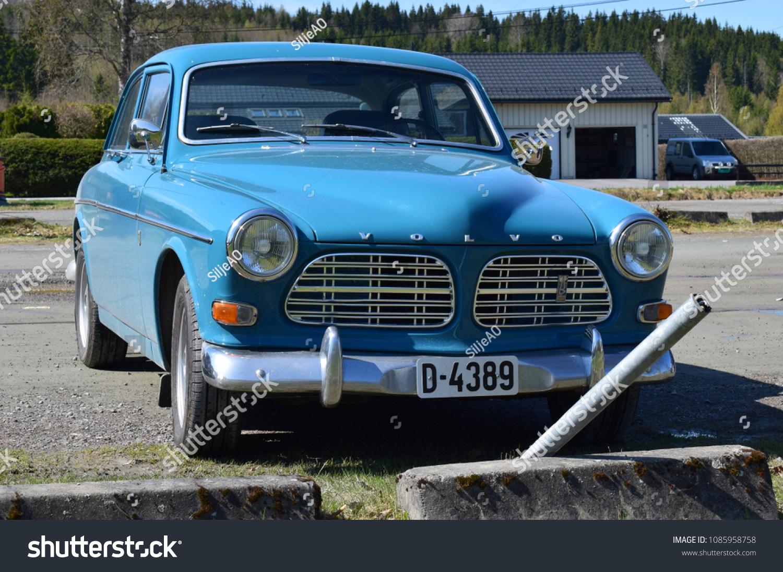 Old Style Blue Volvo Car Kongsvinger Stock Photo Edit Now