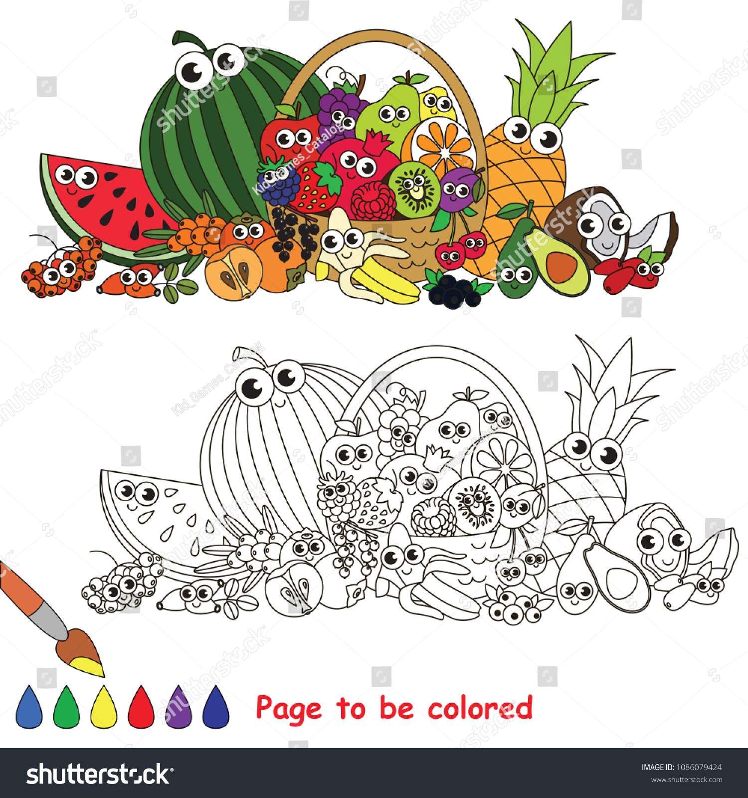 Funny Fruit Basket Be Colored Coloring Stock Vector Royalty Free 1086079424