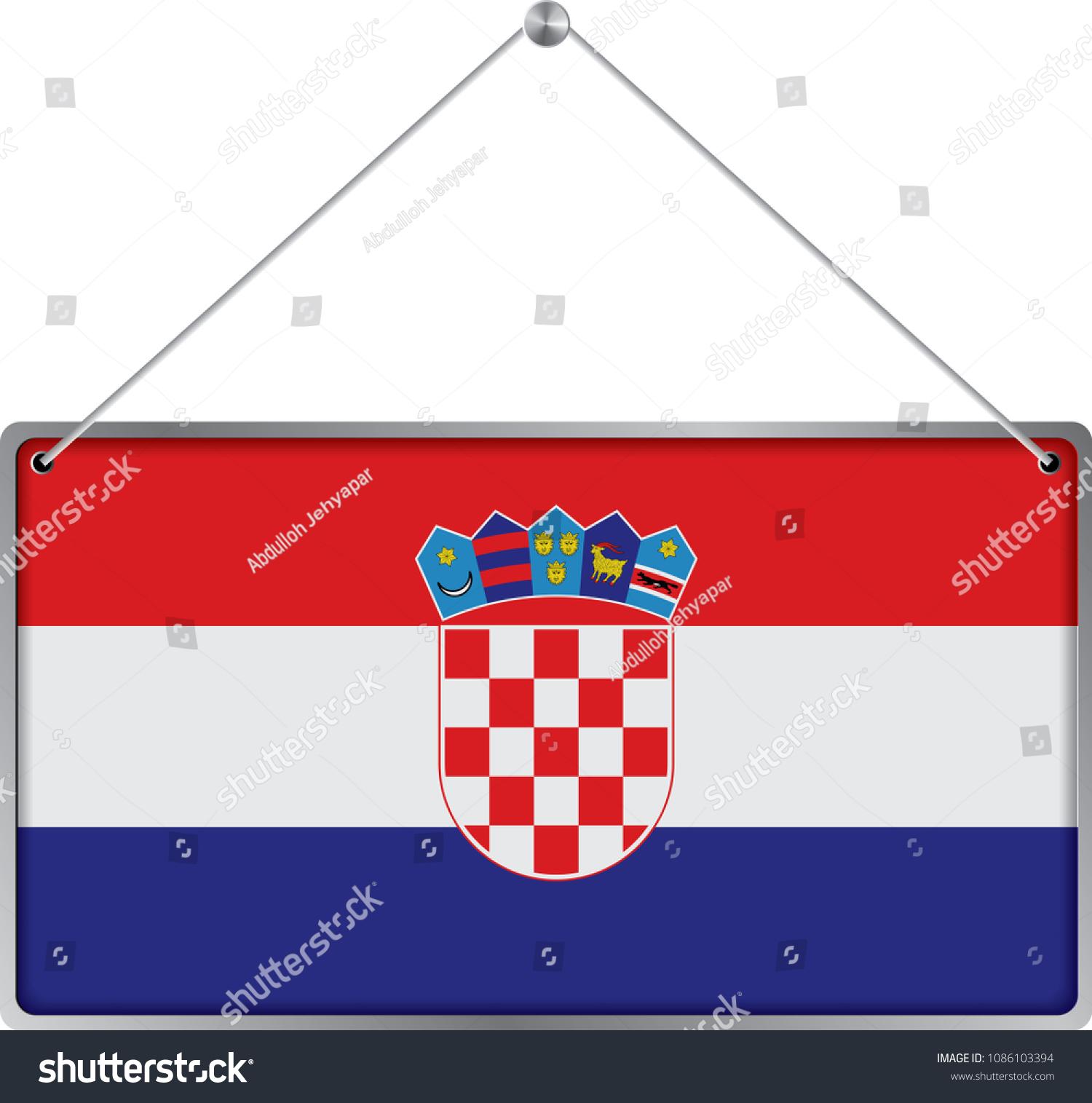 Flag Croatia Symbol State Pennant Hanging Stock Vector Royalty Free